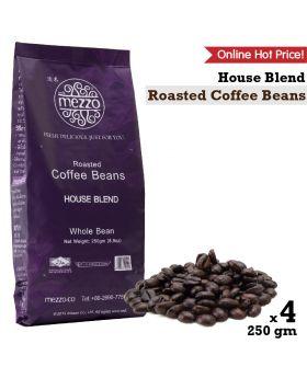 Roasted Coffee Beans, House Blend : 250gm x 4 bags เมล็ดกาแฟคั่ว เฮาส์เบลนด์ 250 กรัม x 4 ถุง